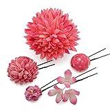 髪飾り Uピン・コーム5点セット ダリアと小花 ピンク