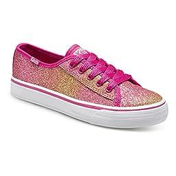 Keds Double Up Sneaker (Little Kid/Big Kid), Pink Glitter, 4.5 M US Big Kid