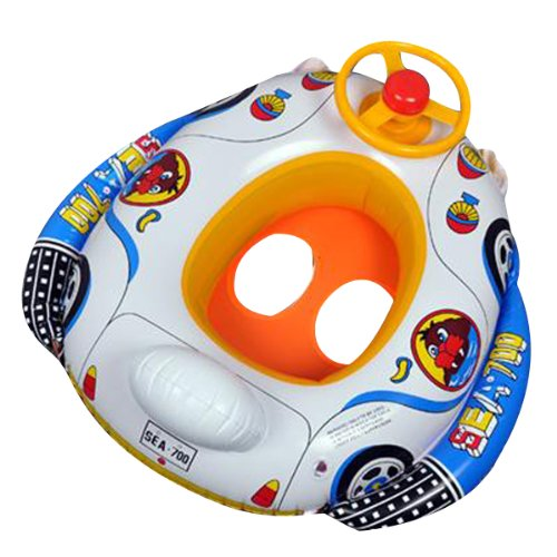 Big Bargain Kids Baby Inflatable Pool Swim Ring Seat Float Boat Swimming Aid with Wheel Horn