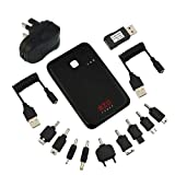 EZOPower Black 2 USB Port Compact External Portable Rechargeable Emergency Backup Battery Charger (5000mAh) with UK USB AC Mains Charger for Apple iPhone® 5S/ 5C/ 5/ 4S/ 4, iPad Air, iPad Mini with Retina Display, iPad 4/ 3, iPad Mini, Google Nexus 4 ,S