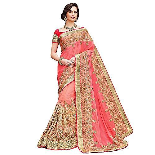 Shree Designer Sarees Women's Classical Pink Satin Chiffon On Net Saree