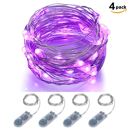 Micro LED String Lights Battery Powered ITART Set of 4 Purple Mini String Light 20 LEDs / 6ft (2m) Ultra Thin Silver Wire Rope Lights for Trees Wedding Parties Jar Bedroom (Cr2032 Battery Amazon compare prices)