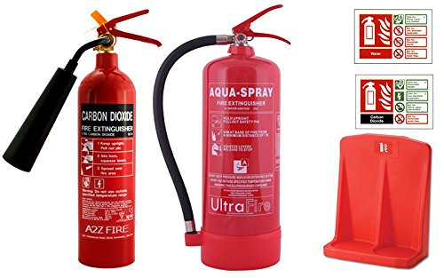6-litre-water-additive-2kg-co2-fire-extinguisher-bundle-deal-with-id-signs-double-extinguisher-stand