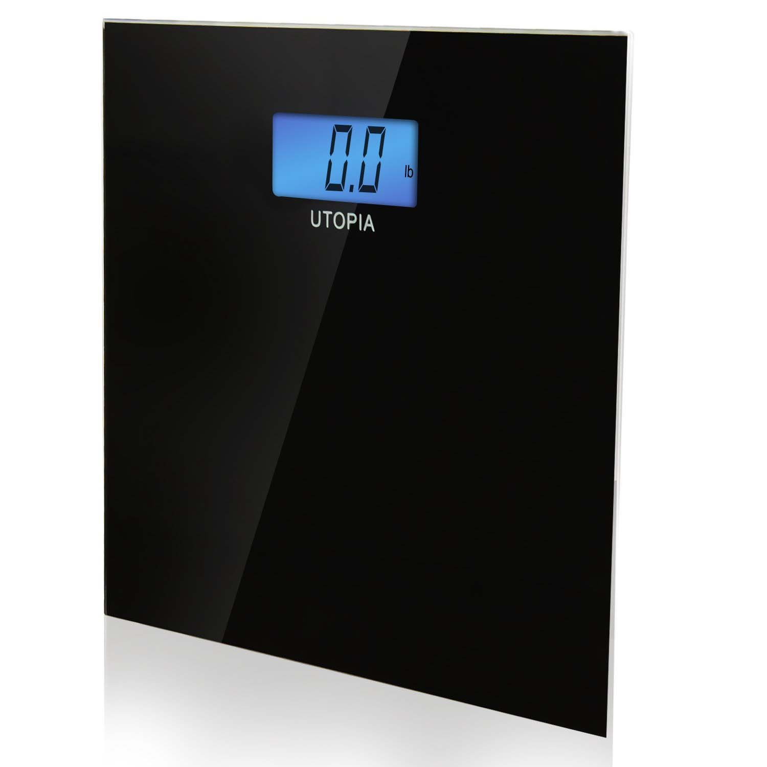 Digital Glass Bathroom Scale Black - 6mm Thick Tempered Glass By Utopia Scales