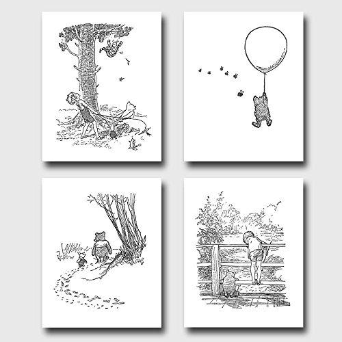 set-of-4-winnie-the-pooh-black-and-white-nursery-art-baby-wall-decor-unframed-prints-winnies-adventu
