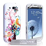 Samsung Galaxy S3 Tasche Silikon Blumen Regenbogen Wirbel Hllevon &#34;Yousave Accessories&#34;