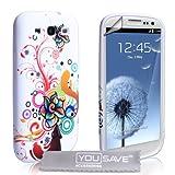 """Samsung Galaxy S3 Tasche Silikon Blumen Regenbogen Wirbel H�llevon """"Yousave Accessories�"""""""