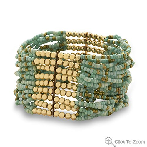 Multistrand Turquoise And Gold Bead Fashion Stretch Bracelet