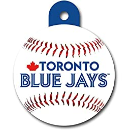 Personalized Toronto Blue Jays Circle Pet ID Tag | Round Dog Tag with Toronto Blue Jays MLB Logo and Baseball on Front | Your Custom Text on Back