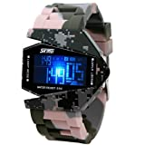 Military Cool LED Display Colorful Light Digital Sport Water-proof Stealth fighter Style Wrist Watches with Silicone Strap (Grey)