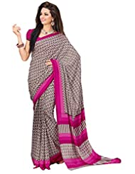 Brown Georgette Printed Saree From G3 Fashions - B00V3KDDR8