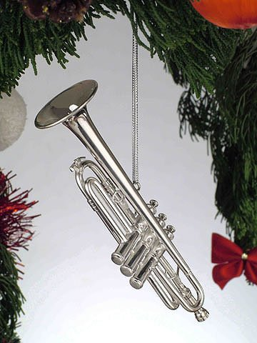 Silver Trumpet Musical Instrument Ornament
