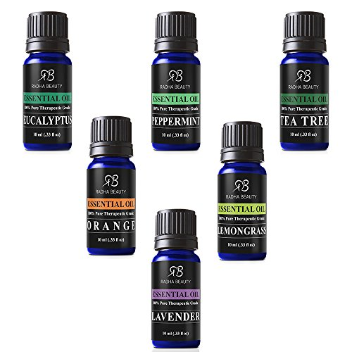 Radha Beauty Aromatherapy Top 8 Essential Oils 100% Pure & Therapeutic grade – Basic Sampler Gift Set & Kit (Lavender, Tea Tree, Eucalyptus, Lemongrass, Orange, Peppermint, Frankincense and Rosemary)