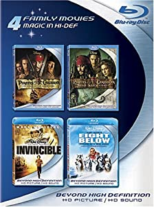 Blu-ray 4-Pack: Family Movies (Pirates of the Caribbean: Curse of the Black Pearl / Pirates of the Caribbean: Dead Man's Chest / Invincible / Eight Below)