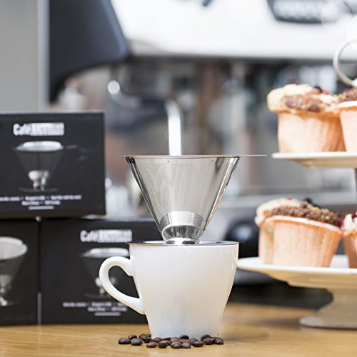 Pour-Over-Coffee-Dripper-by-Cafellissimo-Stainless-Steel-Pour-Over-Coffee-Maker-with-Mesh-Bottom-Drip-Coffee-Cone-Brewer-Non-Electric-Reusable-Paperless-Coffee-Filter-Makes-2-Cups-of-Coffee