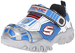 Skechers Kids Star Wars Damager III Astromech Light-Up Sneaker (Toddler/Little Kid), Silver/Blue, 8 M US Toddler
