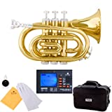 Mendini MPT-L Gold Brass B Flat Pocket Trumpet w/ Case, Accessories & Chromatic Tuner with Metronome
