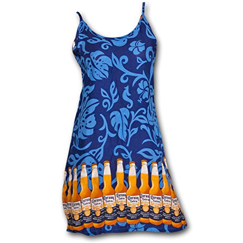 Corona Extra Bottles Womens Slip Rayon Beach Dress Medium Blue