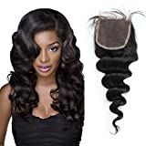 Sunday Hair 7A Lace Closure Brazilian Loose Wave Human Virgin Hair 14inch Swiss Lace Top Closure With Bleached Knots Free Middle 3 Part