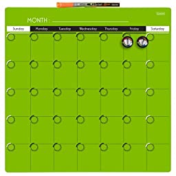 Quartet Dry-Erase Calendar, 14 x 14 Inches, 1-Month Design, Frameless, Lime Green (35005-LGN)