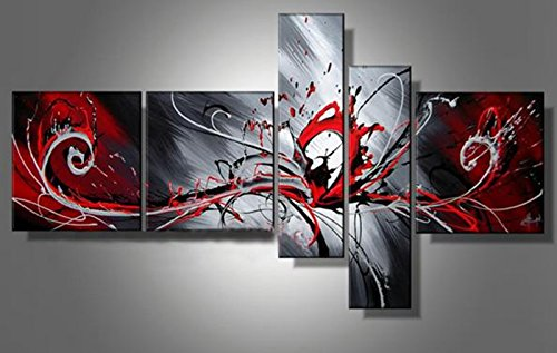 ... Red Black Grey Abstract Canvas Picture Wall Art Split Multi 5 Panels Set ...