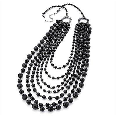 Long Modern Black Acrylic Multi Strand Necklace (Black Tone) - 100cm Length