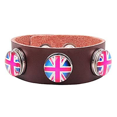 Modern Fantasy Creative Fashion Flag Metal Button Buckle Leather Wrap Bracelet