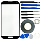 Samsung Galaxy S4 Screen Replacement Kit including 1 Replacement Screen Glass for Samsung Galaxy S4 i9500 / 1 Pair of Tweezers / 1 Roll of 2mm Adhesive Tape / 1 Tool Kit / 1 ECO-FUSED Microfiber Cleaning Cloth (Black)