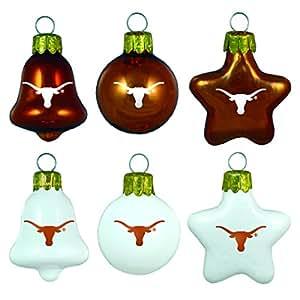 NCAA Texas Longhorns Blown Glass Ball, Bell & Star 6-Pack Ornament Set