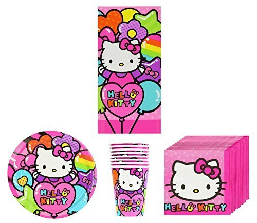 New-Sanrio-Hello-Kitty-Rainbow-Birthday-Party-Supplies-Pack-Bundle-Kit-Including-Plates-Cups-Napkins-and-Tablecover-8-Guests