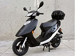 Sunny Powersports MC-JL4 BLACK Sleek Gas 50cc Moped Scooter w/ Trunk