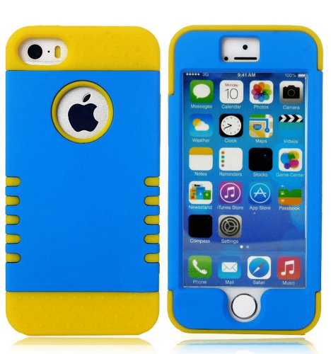 Mylife Bright Yellow And Electric Blue - Shield Armour Series (Neo Hypergrip Flex Gel) 3 Piece Case For Iphone 5/5S (5G) 5Th Generation Smartphone By Apple (External 2 Piece Fitted On Hard Rubberized Plates + Internal Soft Silicone Easy Grip Bumper Gel)