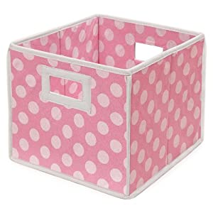 Badger Basket Folding Nursery Basket/Storage Cube, Pink Dot