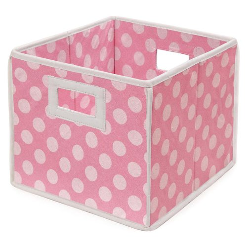 Find Discount Badger Basket Folding Nursery Basket/Storage Cube, Pink Dot