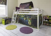 Cabin Bed Mid Sleeper in White with Turtles Tent Teenage Mutant Ninja Turtles