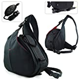 New First2savvv Black professional hardwearing waterproof DSLR digital camera / Lens / Tripod shoulder carrying case bag for FUJIFILM FinePix S4500 with hand strap