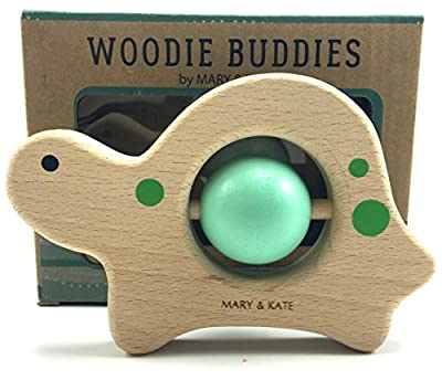 Baby Toy - Wooden Montessori Unisex Rattle by Mary & Kate Woodie Buddies Classic Collectible Keepsake, Smooth-Sanded Solid European Beech Wood and Safe Non-toxic Water Based Colors (Theo the Turtle) by Mary & Kate that we recomend individually.