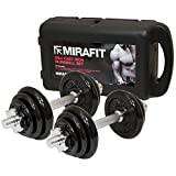 MiraFit 20kg Cast Iron Dumbbell Weight Set with Carry Case