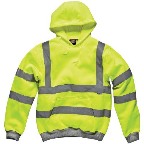 Dickies - Felpa catarifrangente con cappuccio, colore: Giallo, Giallo (Giallo alta visibilità), L