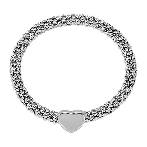 OKAJEWELRY Alloy Stackable Heart Charm Popcorn Stretch Bracelet, White (Popcorn Cube compare prices)