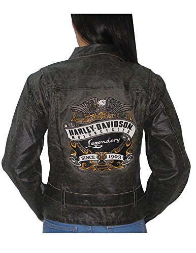 Womens Harley Davidson Casual Racing Zip-Up Jacket (Vintage Look) L Dark Brown