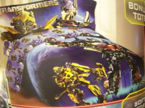 Transformers Dark Of The Moon Twin Microfiber Comforter ~ Bumblebee & Optimus Prime front-637427