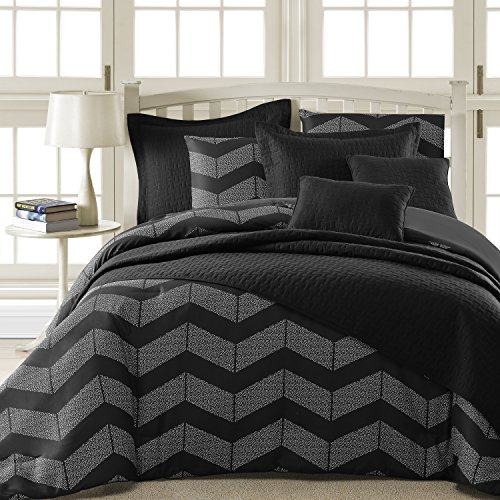 Comfy Bedding Spot Chevron Microfiber 5-Piece Comforter Set (Queen 5-piece, Black) (Chevron Quilted Comforter compare prices)