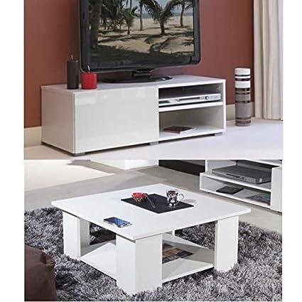 Lime salón completo, colores blanco brillante 2Pieces 1-Mueble TV 96cm + 1mesa baja cuadrada