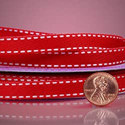 """3/8"""" X 25YD RED SADDLE STITCHED GROSGRAIN RIBBON"""