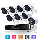 ELEC 8CH Home Security Cameras System, 1080P HD AHD DVR and (8)1.3MP 2000TVL Indoor Outdoor Weatherproof CCTV Surveillance Cameras with IR Night Vision, Motion Alert, Smartphone, PC Easy Remote Access