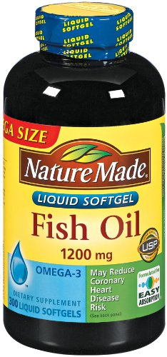 Nature made fish oil omega 3 1200mg 300 softgels overview for Best fish oil on the market