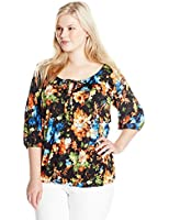Star Vixen Women's Plus-Size 3/4 Sleeve Peasant Top with Keyhole Tie