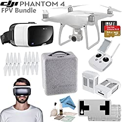 DJI Phantom 4 Quadcopter w/ FPV Bundle: Includes 2 Intelligent Flight Batteries, Zeiss VR One Virtual Reality Headset, SanDisk 64GB MicroSD Card and more... (iPhone 6/6s)