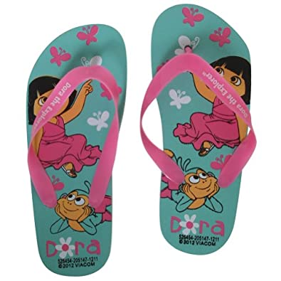 Amazon.com: Kids Dora The Explorer Flip Flops Pink / Blue Small: Shoes